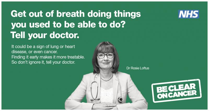Respiratory symptoms banner - If you get ou of breath doing things you used to be able to do, tell your doctor